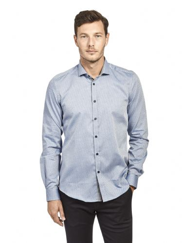 Mish Mash Men's Designer Long Sleeve Buttoned Grey Blue Casual Shirt